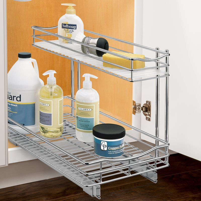 Lynk Roll Out Under Sink Cabinet Organizer   Pull Out Two Tier Sliding Shelf    11.5