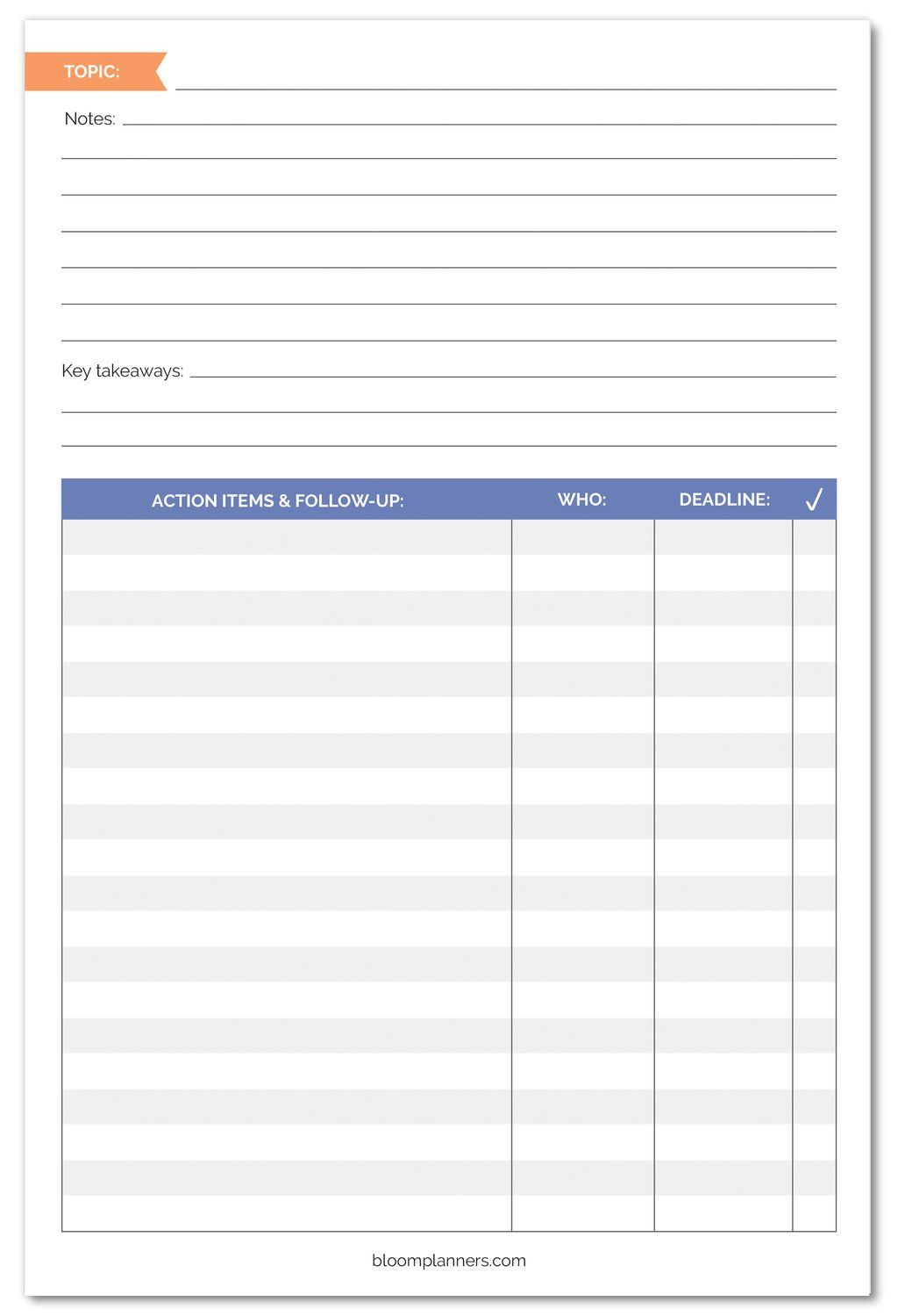 Meeting notes planning pad 6 x 9 meeting notes