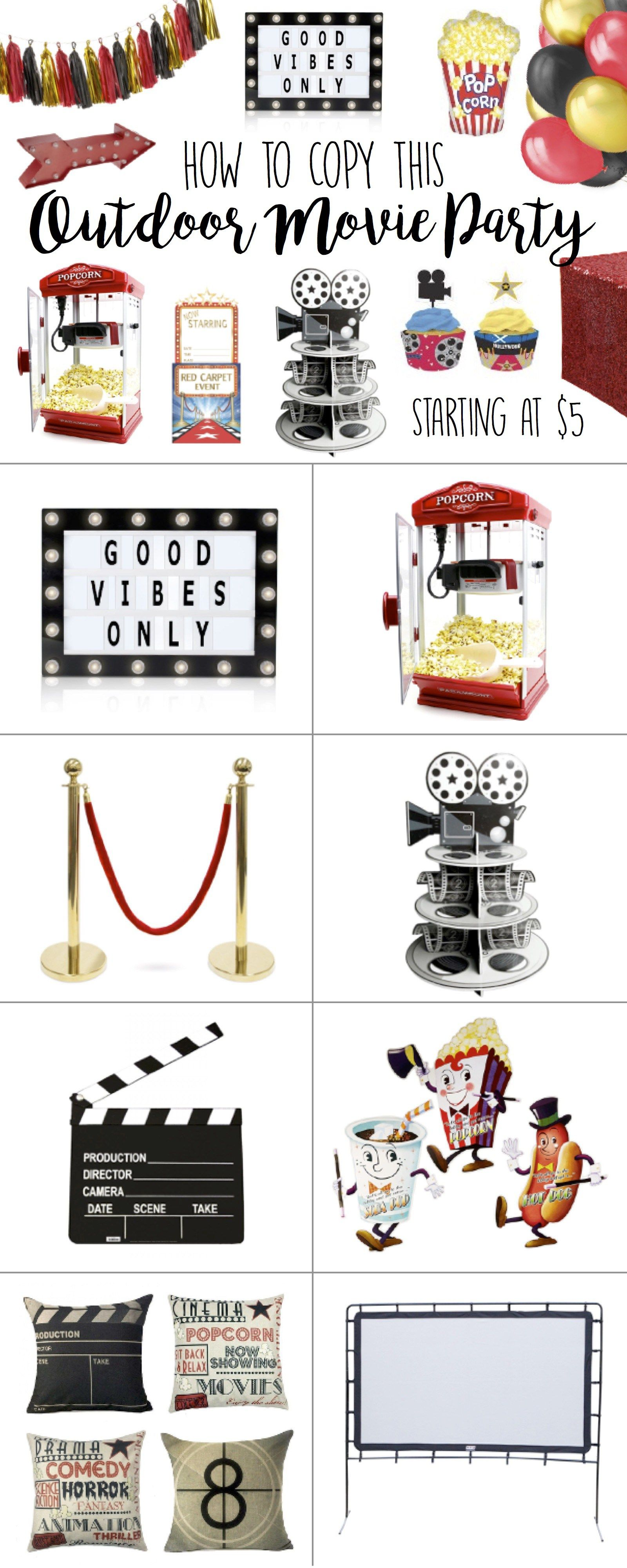 Outdoor Movie Party Theme Ideas - Dive-in Drive-in Birthday Party ...