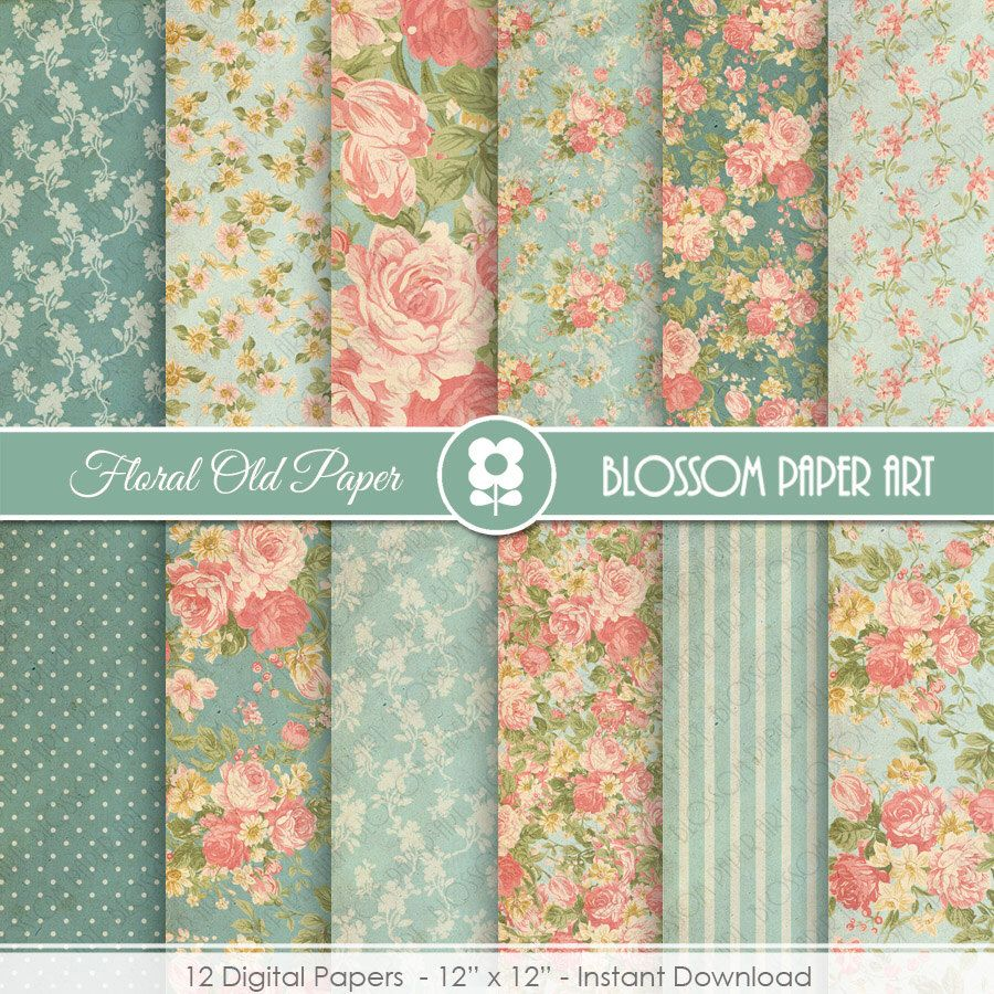 Scrapbook paper etsy - Teal Floral Digital Paper Floral Digital Paper Pack Vintage Scrapbook Paper Shabby Chic