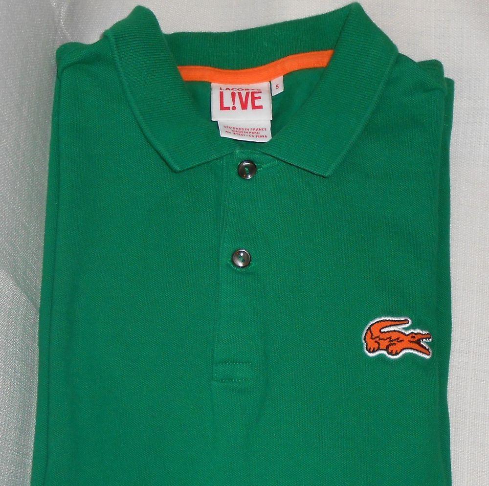 Lacoste Live Polo Shirt Men Size 5 M Medium Green Big Logo Short