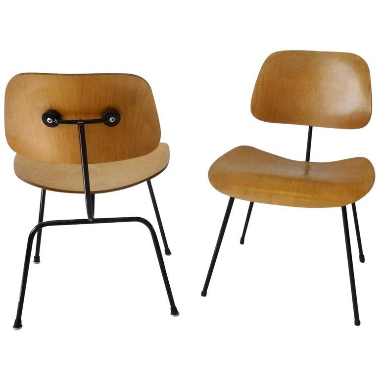 Pair of Charles and Ray Eames Metal Leg Dining Chairs DCM