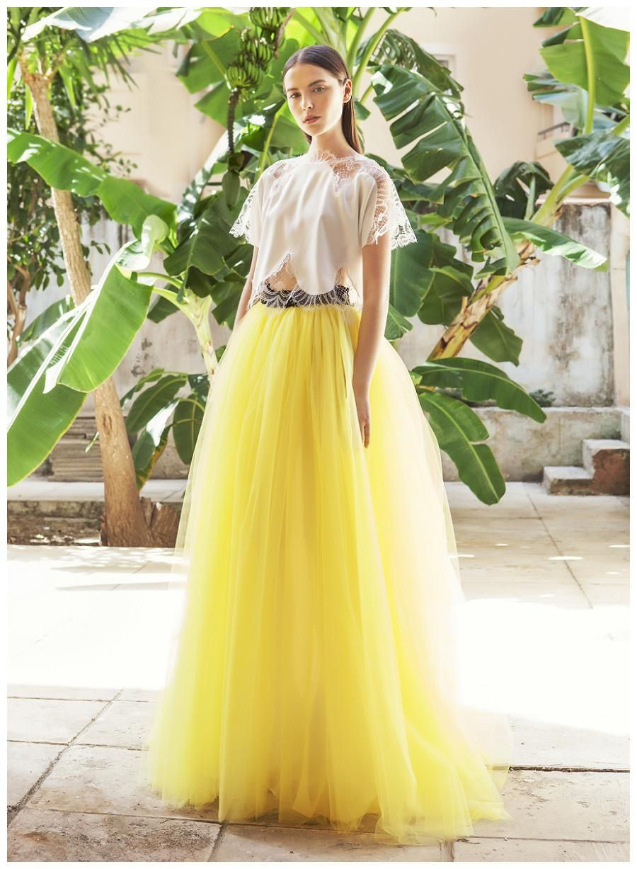 Delicate lace top and yellow tulle skirt by christos costarellos