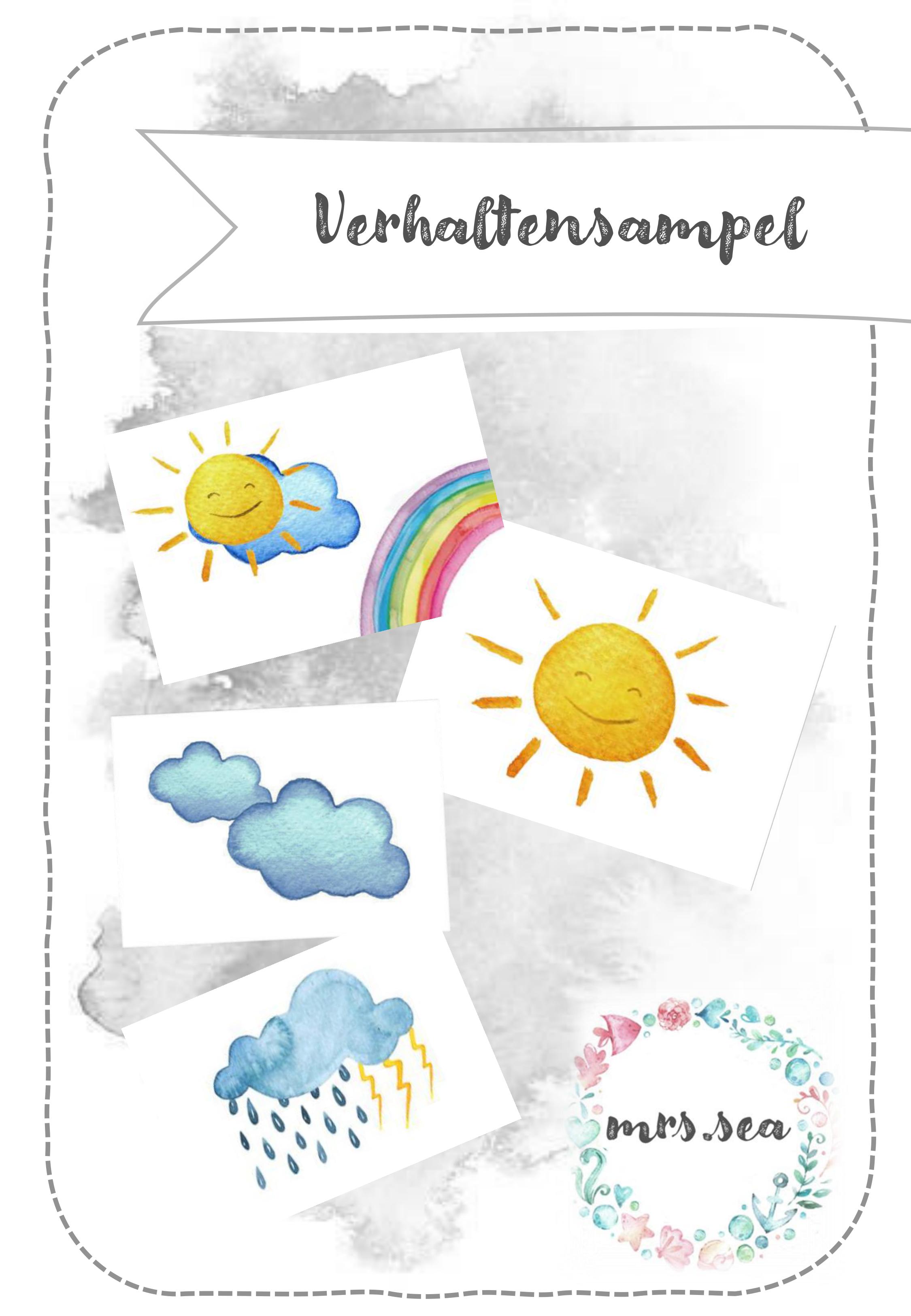 Verhaltensampel Sonnenschein Regenbogen Wolken In 2020 Kindergartenbeginn Sachunterricht Grundschule Vorschulideen