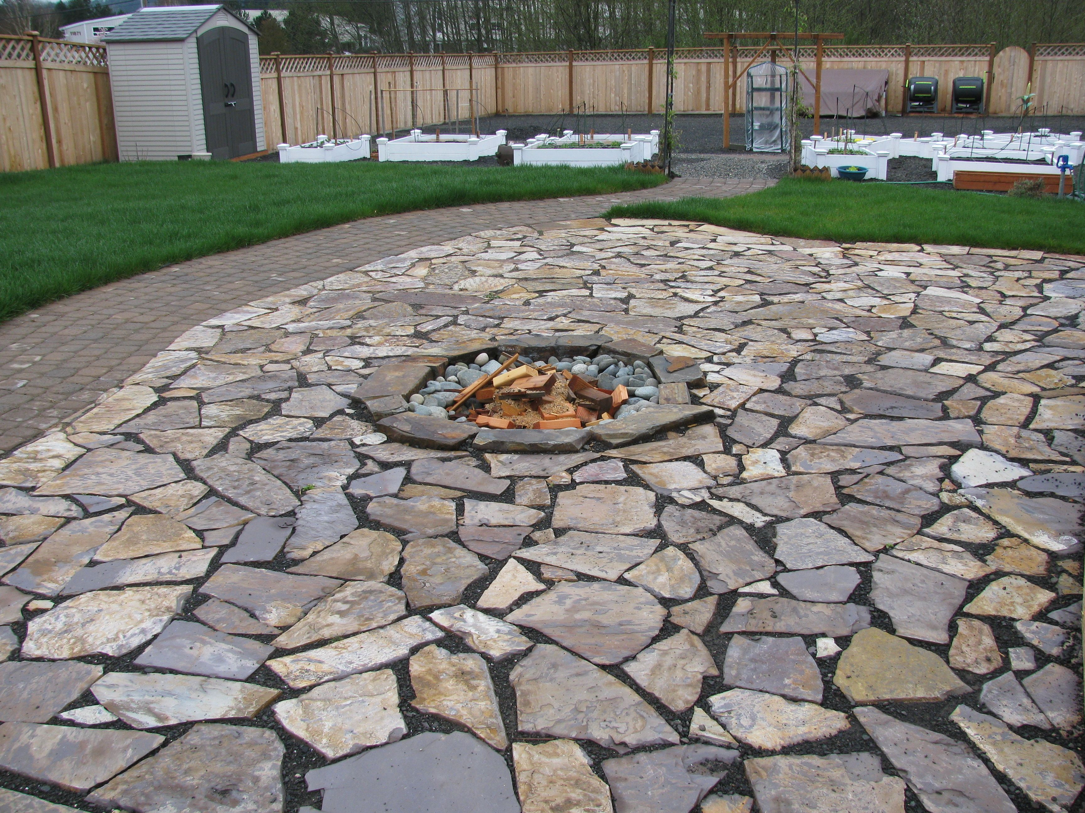 fire pit patio stone backyard