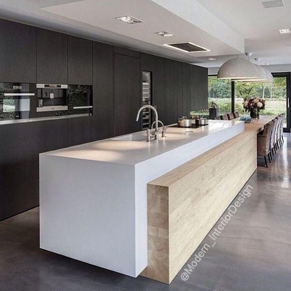 Matte Black Kitchen Cabinets: Matte Black Units, Wood Feature
