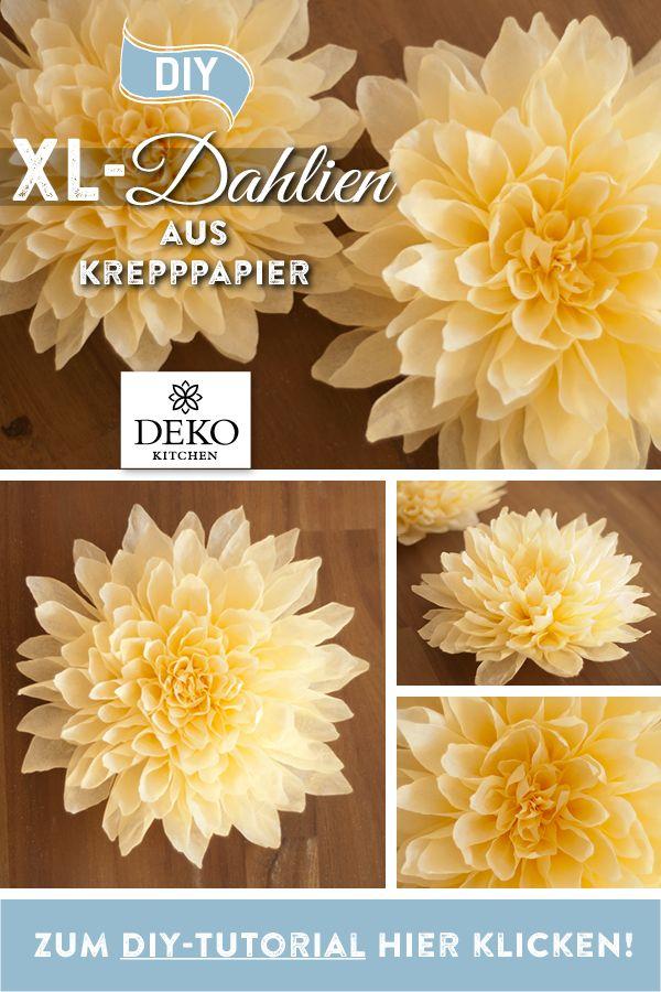 Photo of DIY: disse XL dahliaene laget av pannepapir har en diameter på ca. 20 cm og …