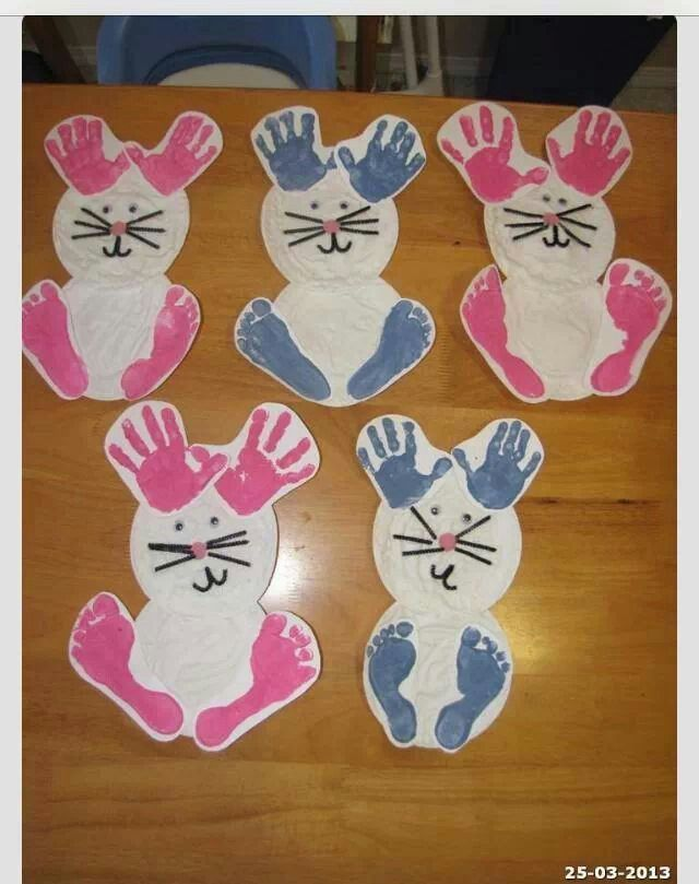 Easter Bunny Craft With Hand Prints And Foot Prints So Cute Evie