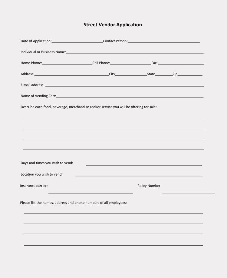Vendor Application Form Template Beautiful 9 Printable Blank Vendor Registration Form Templates For In 2020 Registration Form Templates Order Form Template