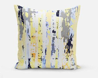 Navy Yellow Pillow Cover Cushion Abstract Art Grey Light Blue Decorative Throw