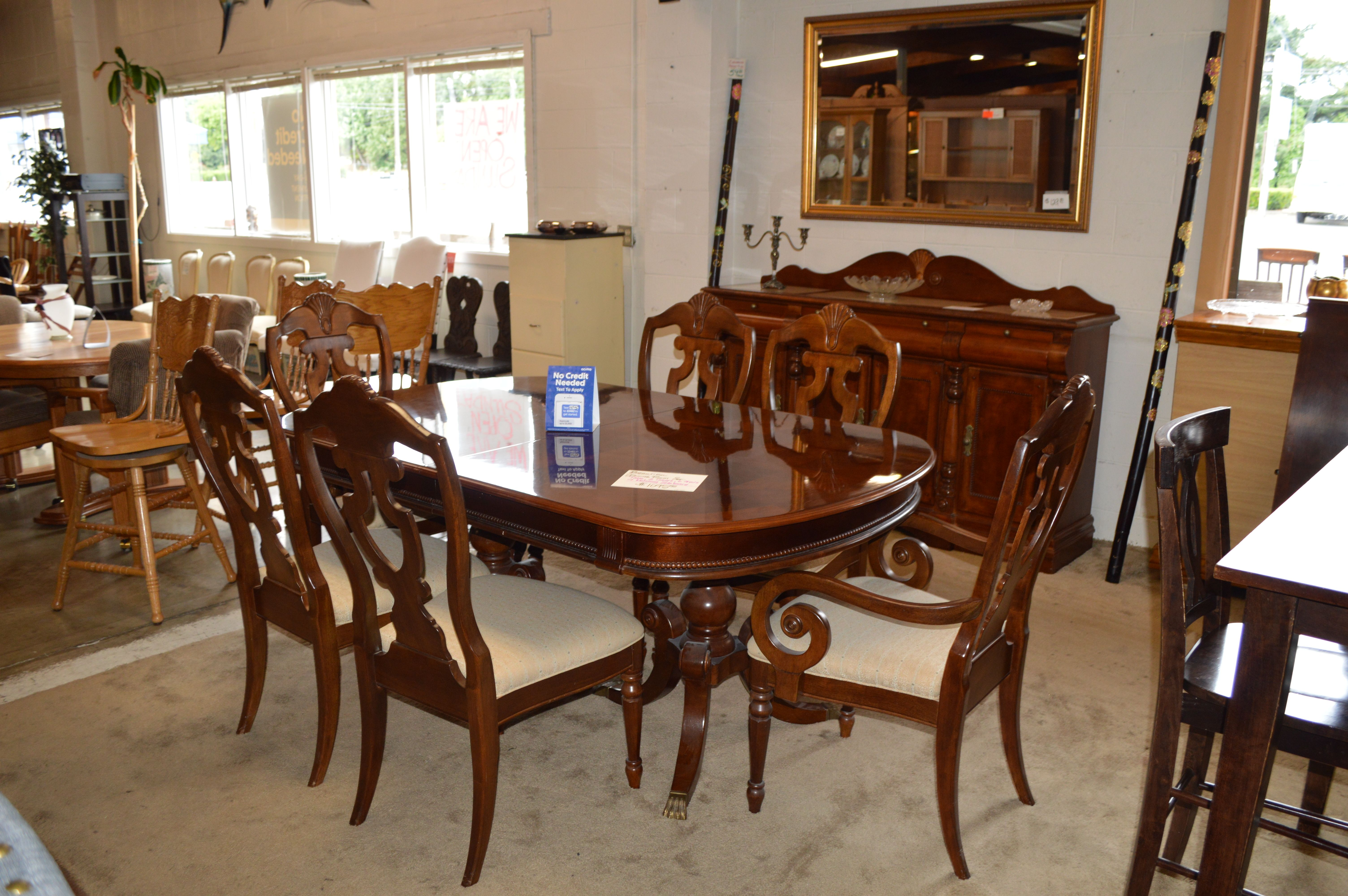 Table 2 Leaves 6 Chairs Marble Top Buffett Beautiful Dining