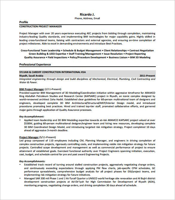 Construction Project Manager Resume Free , Senior Project Manager - senior project manager resume