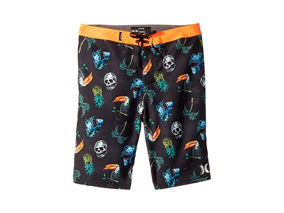 Hurley Kids Toucan Boardshorts Big Kids Black Boys Swimwear A lightweight and quick drying pair of boardshorts thatll keep your little grom out chasing the breakers from...