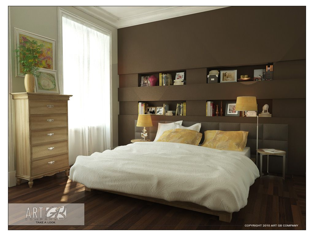 White and Brown Bedroom Design with Wooden Floor by Gorge Bergman ...