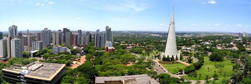 Maringá - Paraná; Vista Panoramica do Centro. Exemplo de aplicação no Brasil da teoria de cidades Jardins