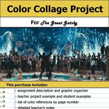Great Gatsby Color Collage Project | Gatsby, Collage and High ...
