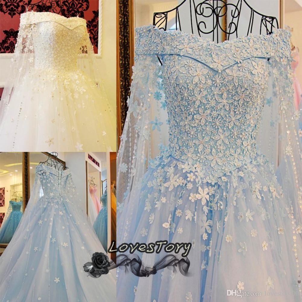 Vintage blue white princess wedding dress lace saudi arabia muslim