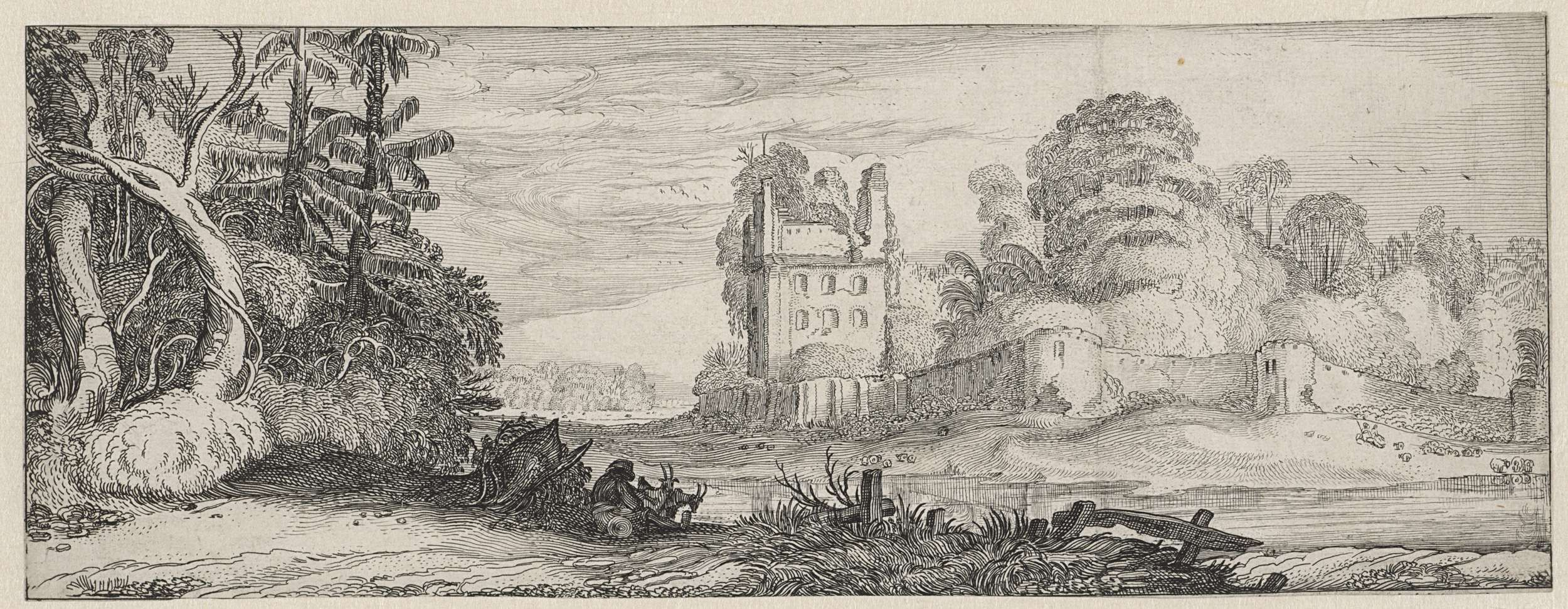 Jan van de Velde (II) | Gezicht op een ruïne van een huis bij een muur, Jan van de Velde (II), 1615 | Gezicht op een ruïne van een huis bij een muur. Op de voorgrond een zittende fluit spelende herder. Zestiende prent uit een serie van achttien.