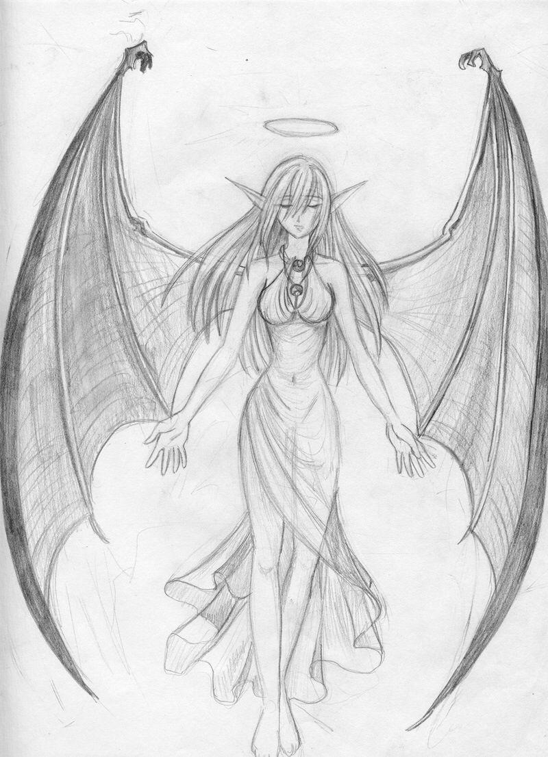 Картинки ангел и демон рисунки
