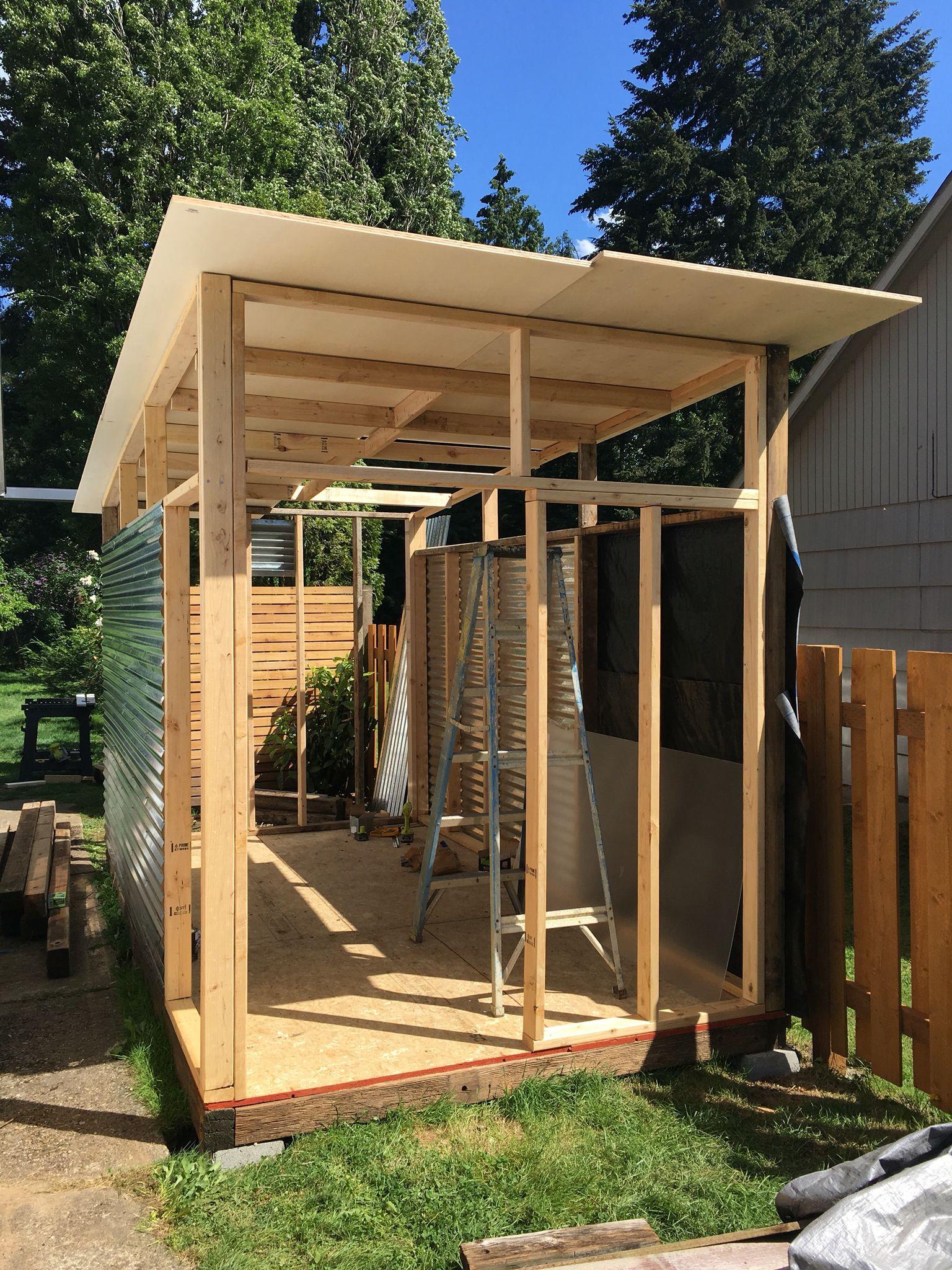 MD100 day 2 of DIY modern shed Sheds Pinterest DIY and