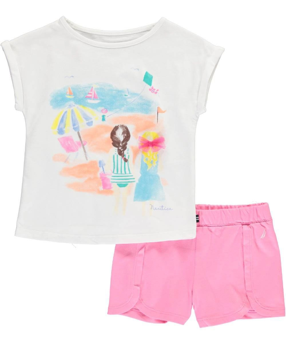 Nautica Girls Graphic Tee Shirt and Fashion Short Set