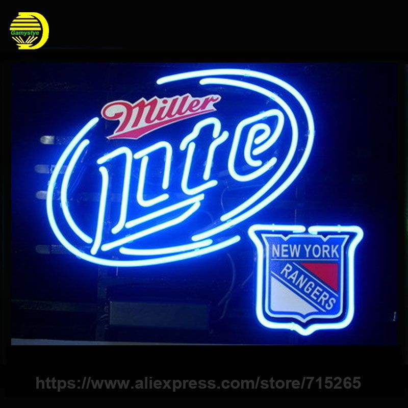 Business neon sign signboard for new york rangers miller lite real business neon sign signboard for new york rangers miller lite real glass tube beer bar pub aloadofball Gallery