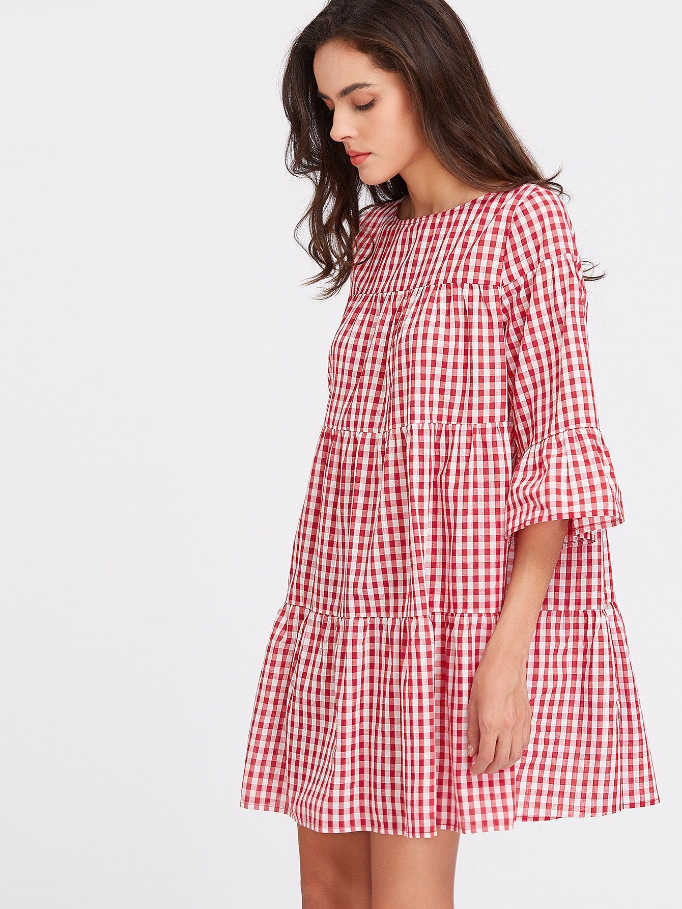 Red plaid sleeve gingham tent dress boat neck color red and tents