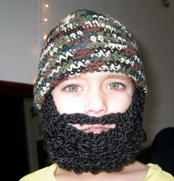 Crochet Hat Pattern Crochet Beard Pattern Child Beard Hat Pattern ...
