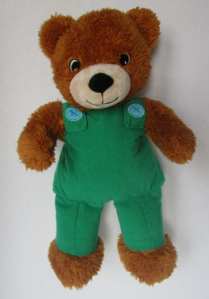 "Corduroy The Bear Kohls 14"" Plush Stuffed Teddy Green Overalls Sewn Eyes #Kohls"