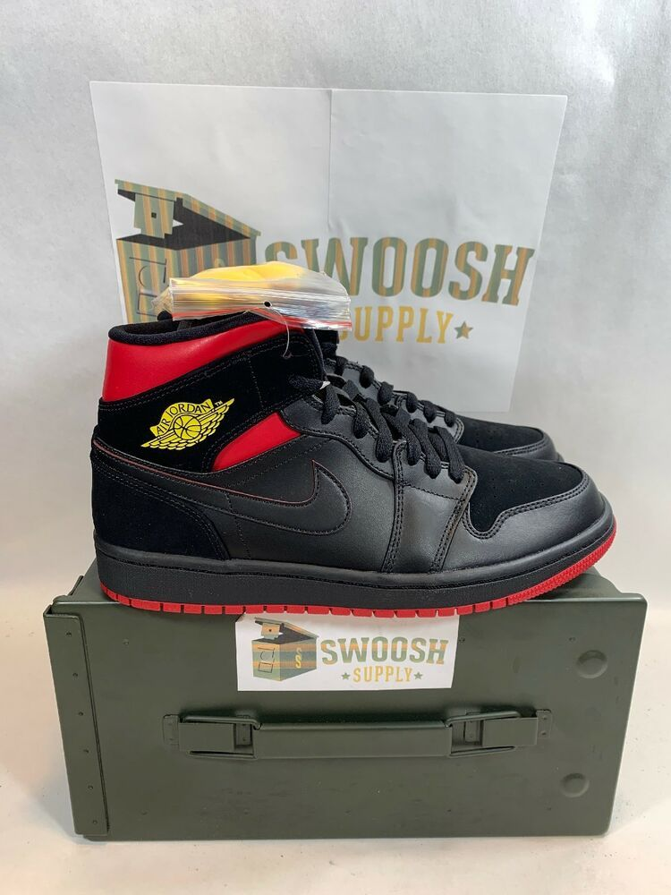 63f2ee0a291a Nike Air Jordan 1 Mid Last Shot 554724-076 Black Red Yellow Mens Size 7.5   Nike  AthleticSneakers