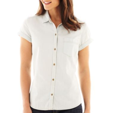 Basics Liz Claiborne Short-Sleeve Denim Shirt  found at @JCPenney