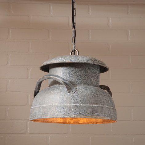 Irvin tinware milk can pendant light in weathered zinc