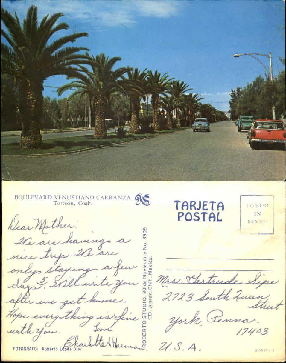 Boulevard Venustiano Carranza Torreon Coahuila Mexico Old Cars Postcard | eBay