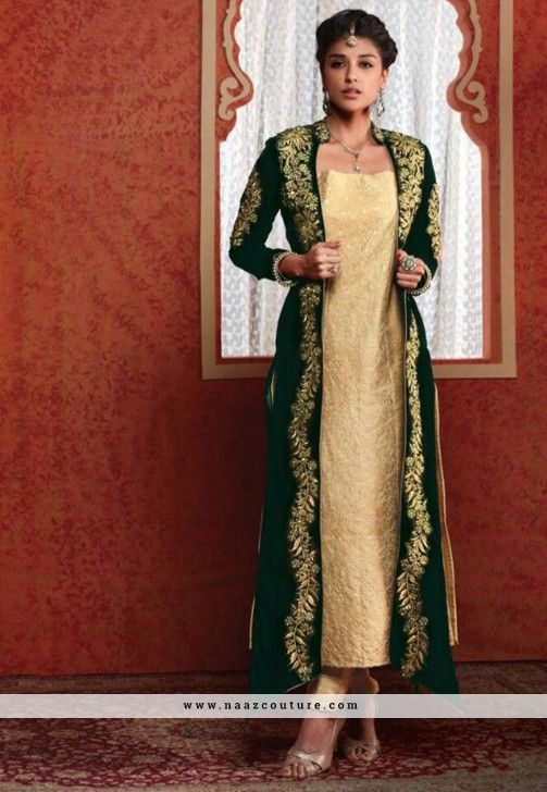 Conspicuous Cream Straight Long Salwar Suit With Jacket | SALWAR ...