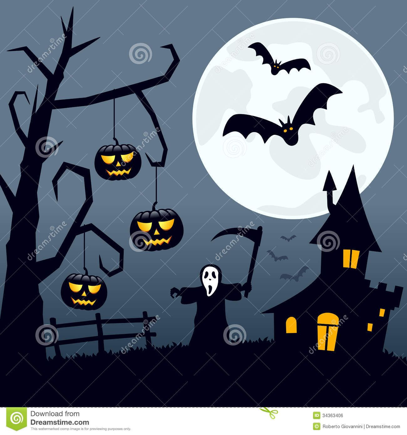 Halloween scary landscape night scene background moon over Haunted house drawing ideas