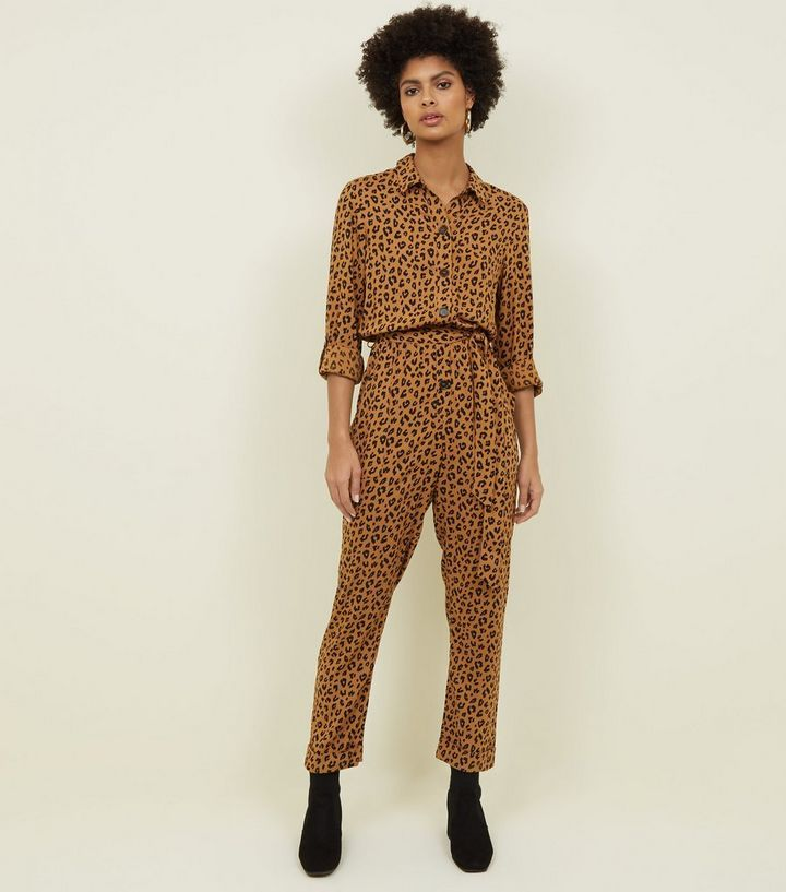 e6d1a7ed3b0f Brown Leopard Print Button Front Jumpsuit in 2019