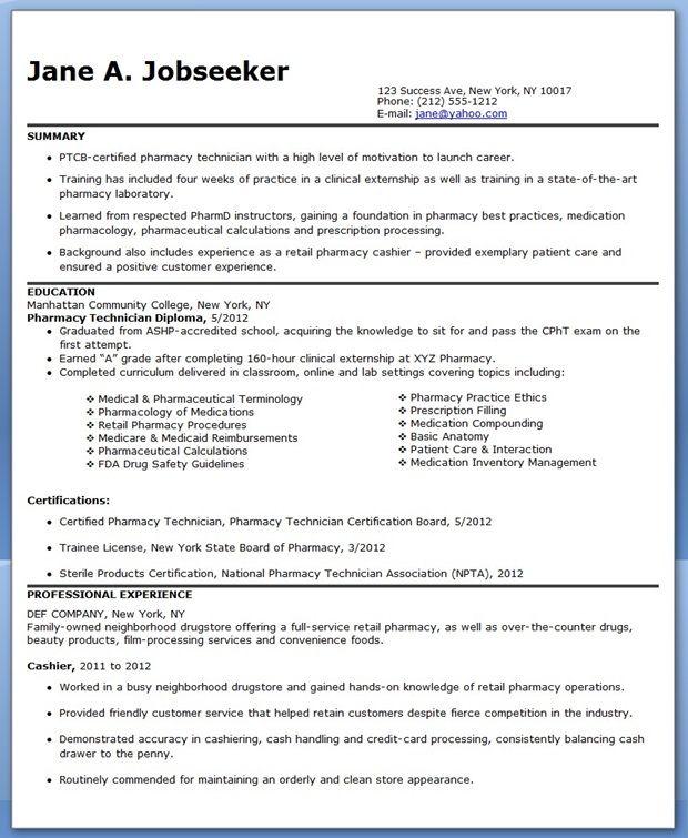 Pharmacy Tech Pharmacy Technician Resume Examples