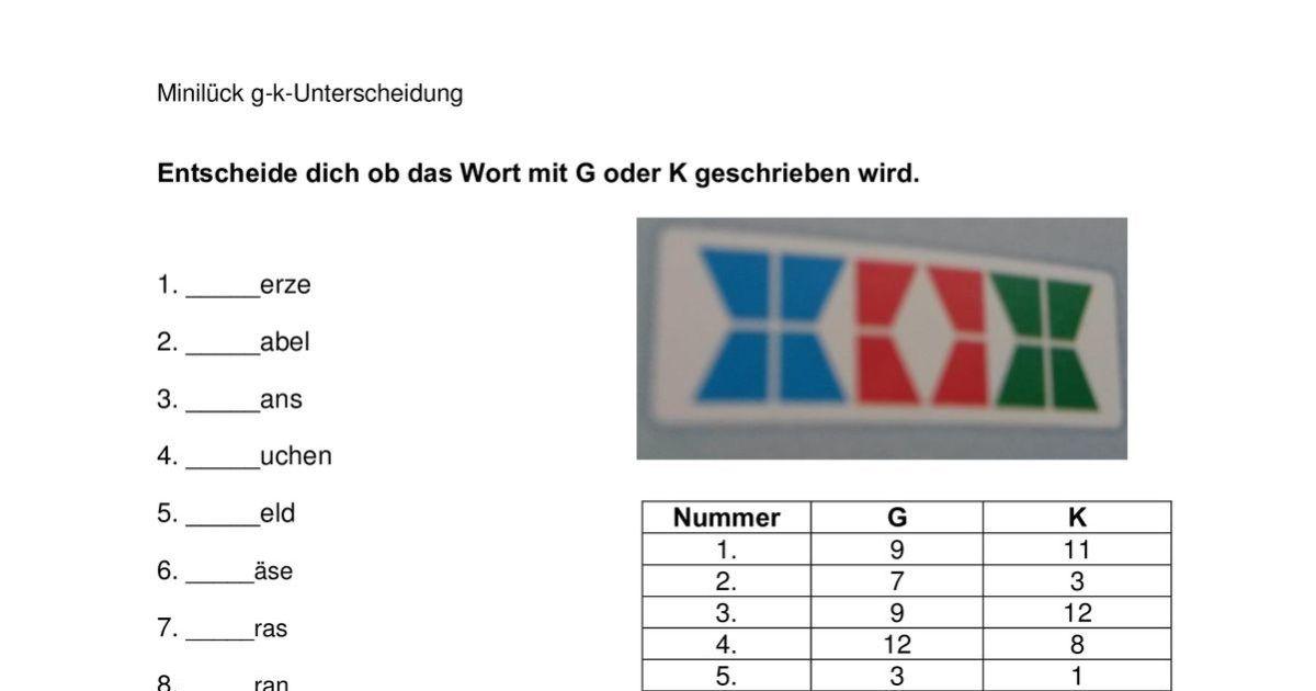 Miniluck G Oder K Worter Mit G Rechtschreibung Differenzierung