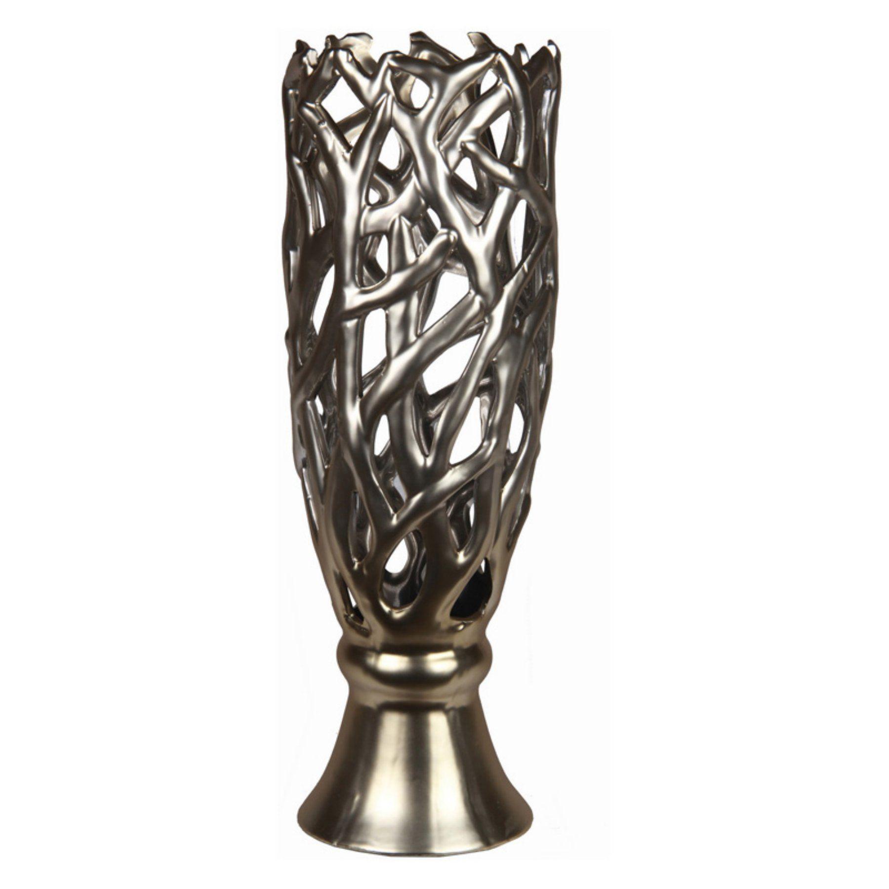 Privilege International Metallic Table Vase Chrome 78110 Table Vases Metal Vase Metal Table