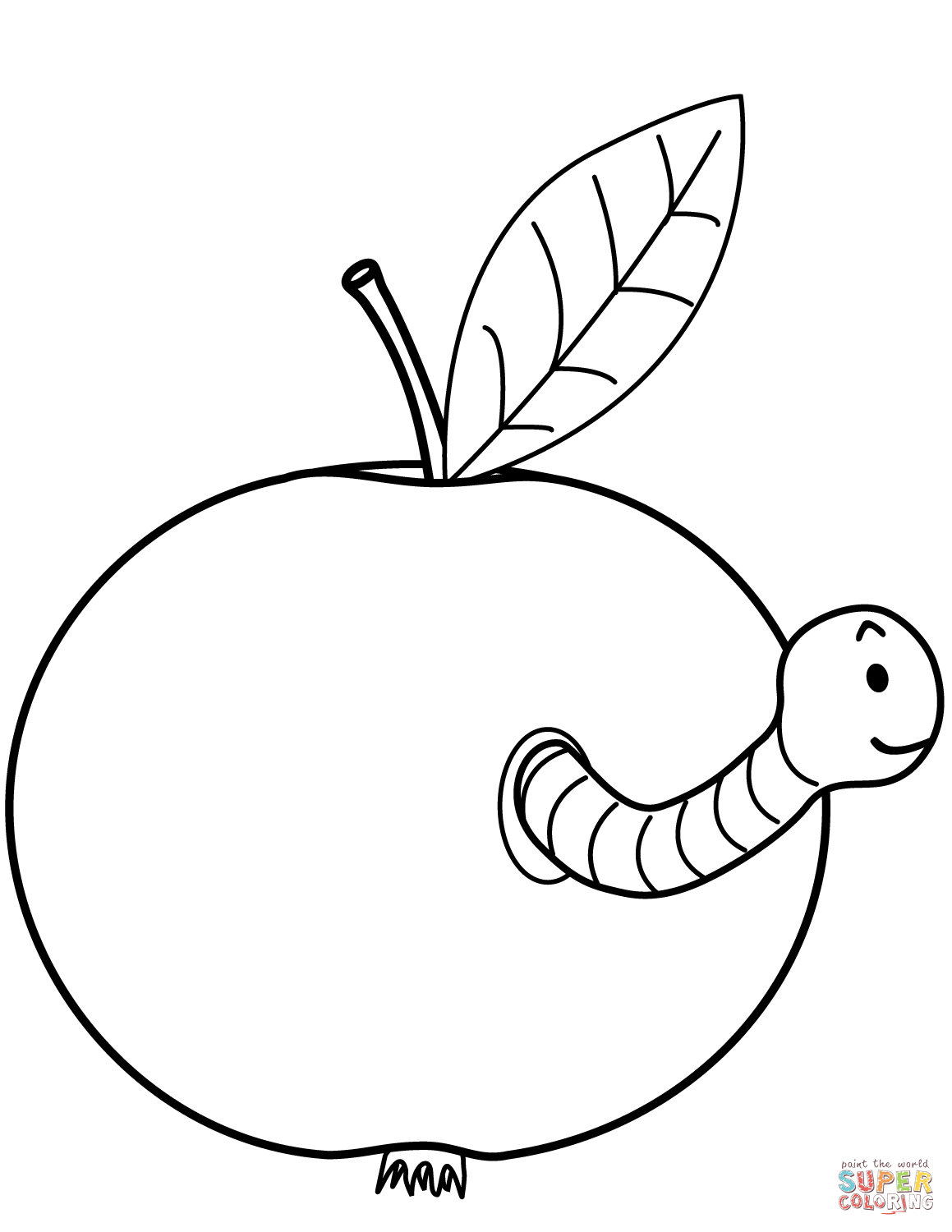 Worm Is Coming Out Of Apple Super Coloring Coloring Pages Owl Coloring Pages Free Printable Coloring Pages