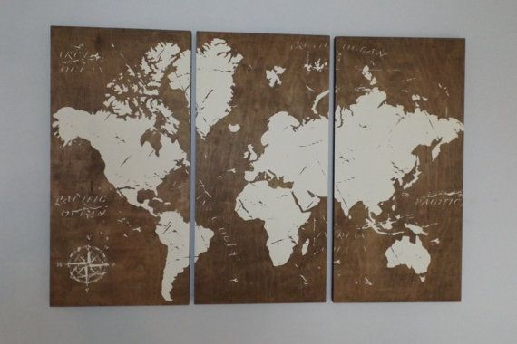 Vintage world map screen print wood painting wall art on stained vintage world map screen print wood painting door cedarworkshop gumiabroncs Image collections