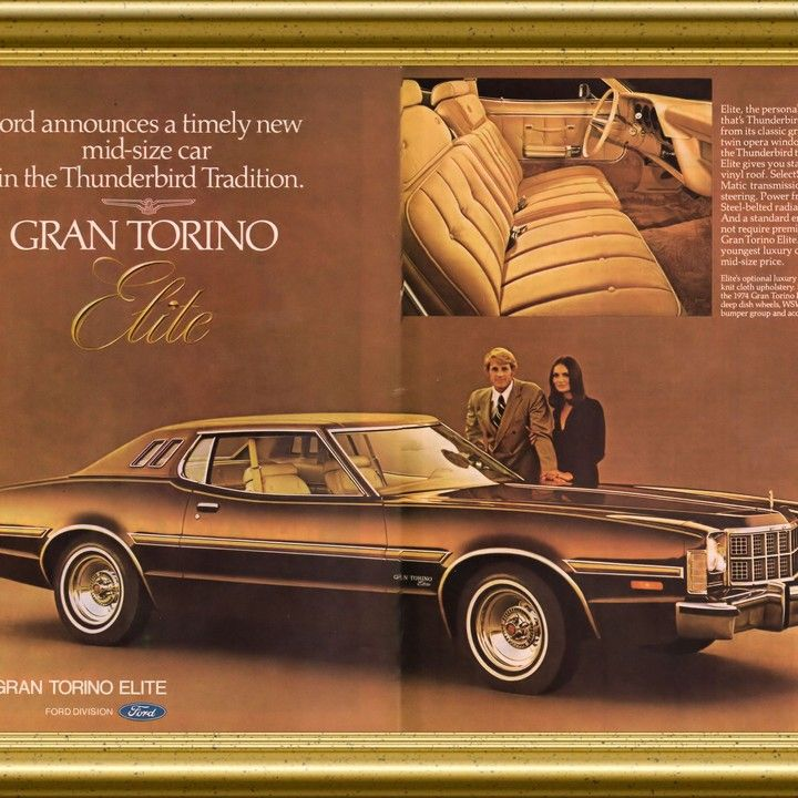 1974 Ford Gran Torino Elite The Thunderbird Tradition Vintage Ad Vintage Ads Mid Size Car Car Advertising