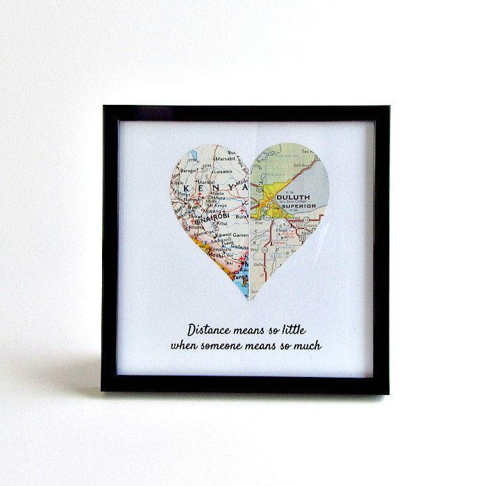Long Distance Map Heart Deployment Gift for Boyfriend Boyfriend