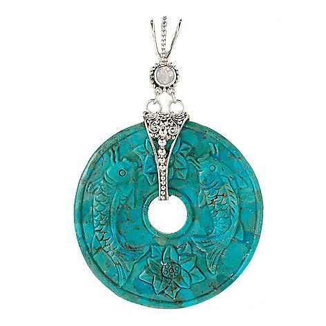 145-469 - Offerings Sterling Silver 60mm Carved Turquoise & Moonstone Pendant
