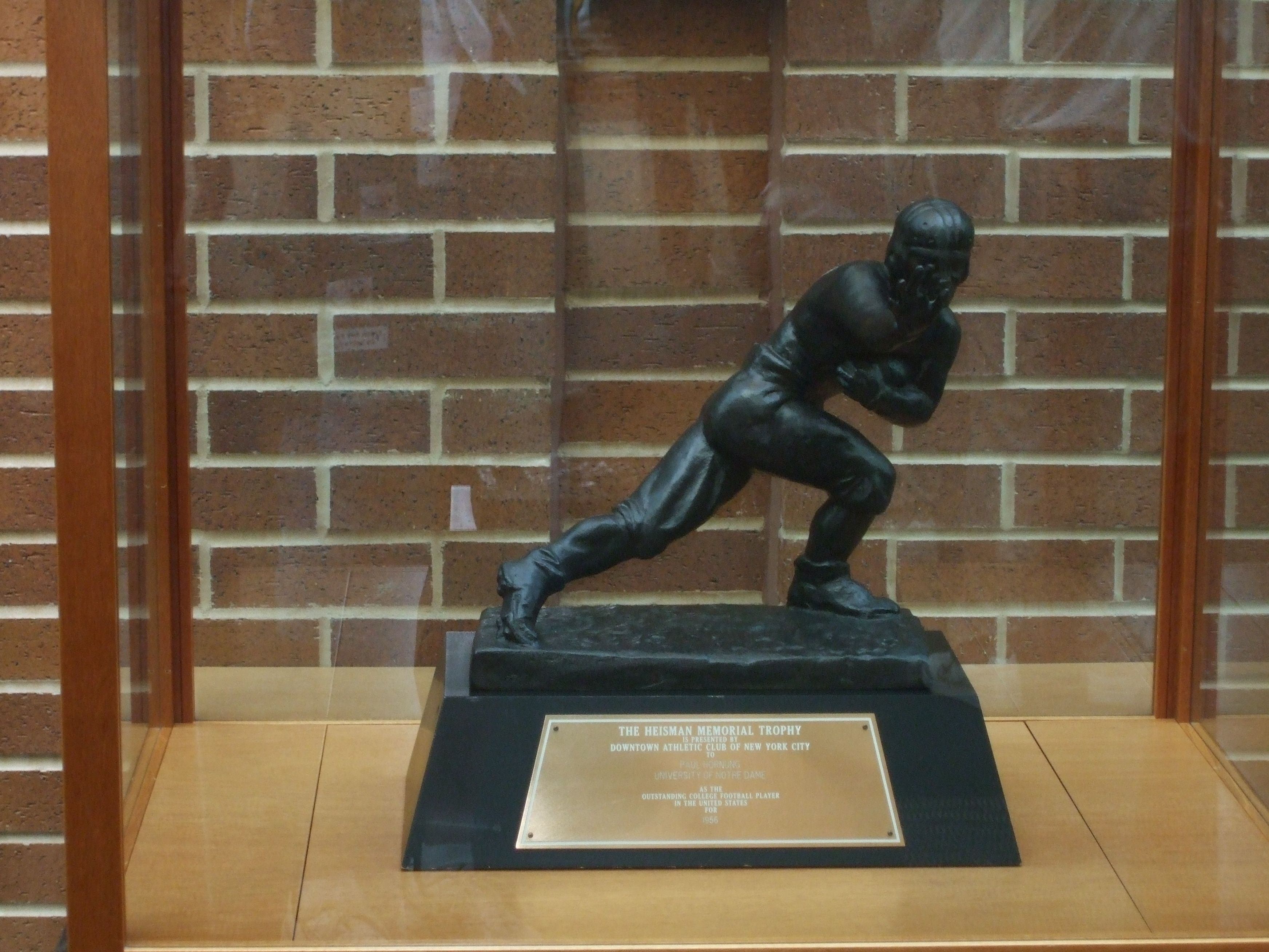 Another picture of Paul Hornung's Heismann Trophy.