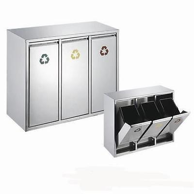 details zu m lleimer 24 liter edelstahl abfallsammler abfalleimer m lltrennung 3x8l silber. Black Bedroom Furniture Sets. Home Design Ideas