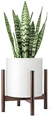 Amazon Com Mkono Plant Stand Mid Century Wood Flower Pot Holder Indoor Potted Rack Modern Home Decor Up Flower Pot Holder Flower Pots Big Leaf Indoor Plant