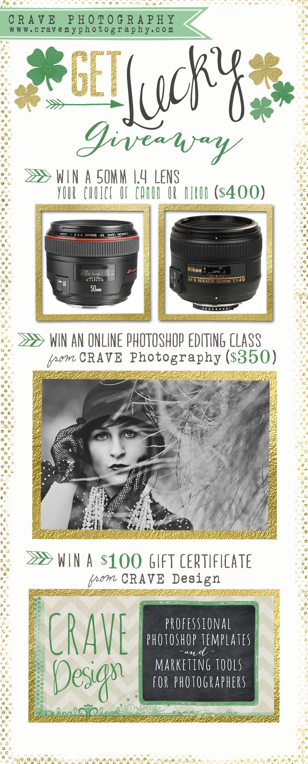 LAST DAY -- ENTER TO WIN A FREE 50mm 1.4 LENS!!!  http://cravemyphotography.com/blog/get-lucky-lens-giveaway/