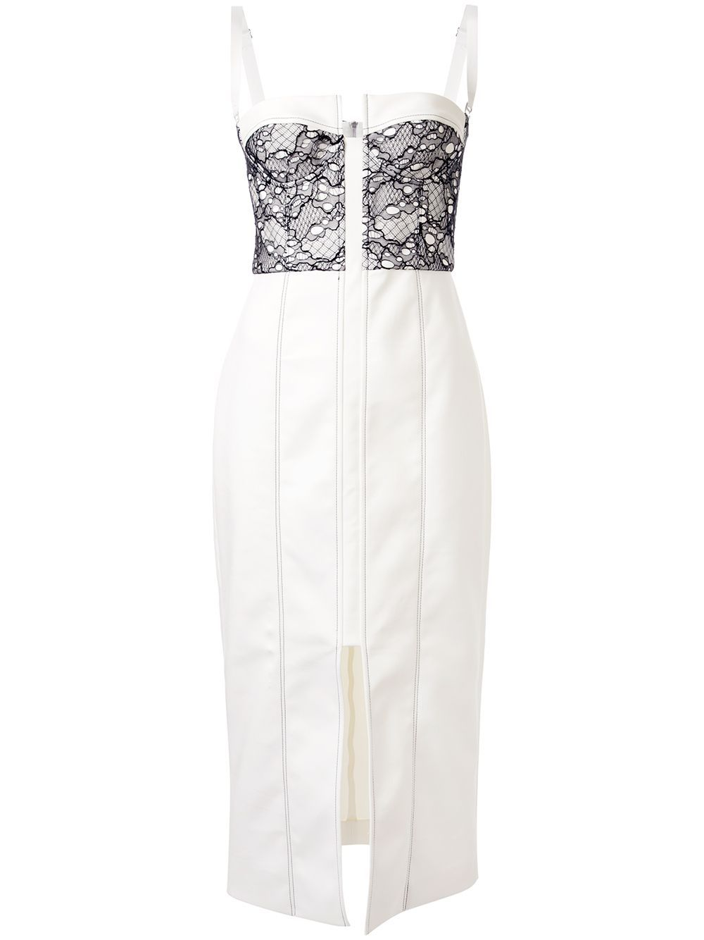 Ivory nylon Lace Column Bustier dress from Dion Lee featuring a sweetheart neckline, adjustable shoulder straps, lace panels, stitching details, darts at the waist, a back zip fastening and a mid-length.