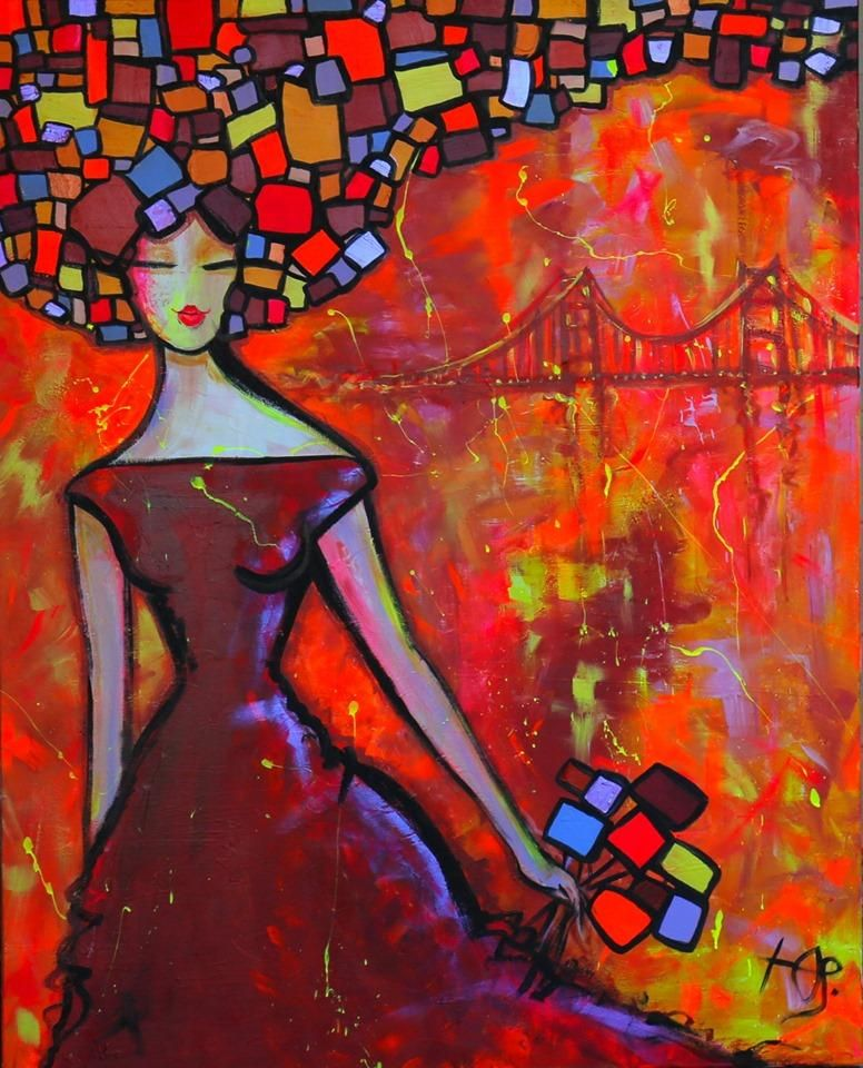 Lady and the Golden Gate, 48″x 60″ acrylic painting by Julia Kosivchuk